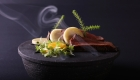 Smoked kudu, ocean cured egg yolk, skattie cheese