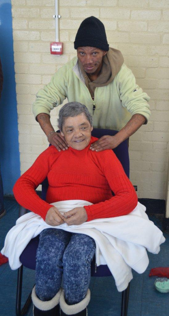 CARES Team Member giving a head neck and shoulder massage